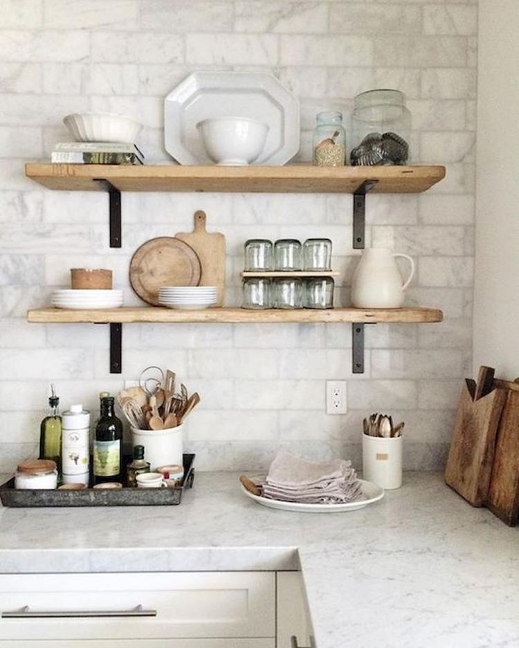 80 Exciting Farmhouse Open Shelves Kitchen Design Ideas,Black White And Brown Living Room Ideas